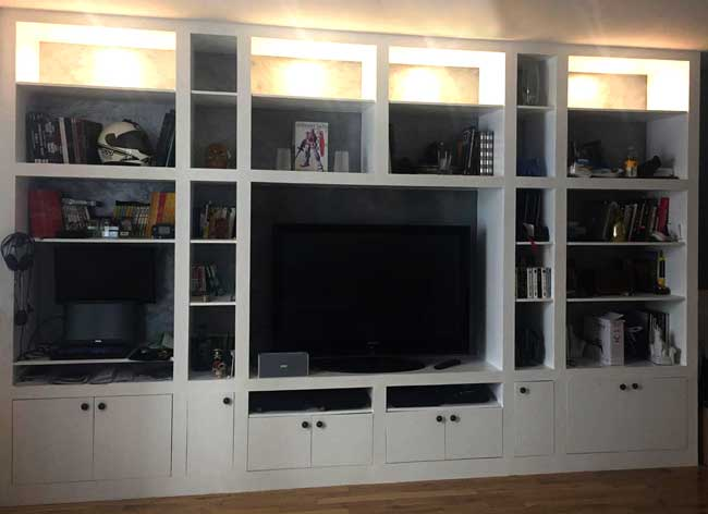 fabriquer un grand meuble tv bibliotheque. Black Bedroom Furniture Sets. Home Design Ideas